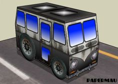 Hot Kombi Paper Model For Kids - by Papermau - Download Now! - == -  This is the Hot Kombi, an easy-to-build model in only one sheet of paper, that is perfect for kids.
