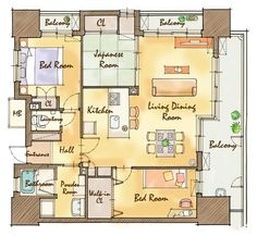 Japan Apartment, Apartment Interior, 2 Bed House, House Rooms, Home Room Design, House Design, Floor Plan Sketch, Interior Sketch, House Inside