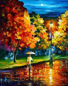 Stroll In The Night  Blue Gold Palette Knife por AfremovArtStudio