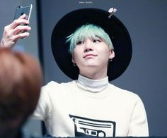 Yoongi Blue Hair Hat 3 Suga SugaYoongi BtsMin