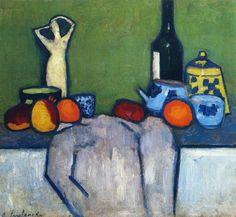Alexej von Jawlensky - Still Life with Flask, Fruit and Figure :: Alexej Von Jawlensky :: Allpaintings Art Portal