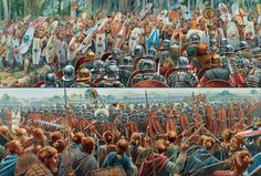 Work of Peter Dennis where he exposes to Legionaries of the Empire fighting against Germans, with the peculiarity of showing us both lines of combat from the respective point of view of Romans and barbarians. Ancient Rome, Ancient History, Imperial Legion, Rome Antique, Roman Warriors, Roman Legion, Germanic Tribes, Age Of Empires, Man Of War
