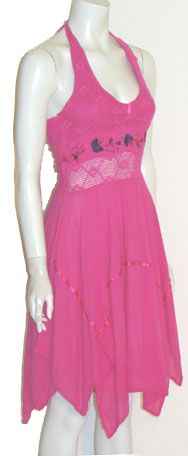 Hot Pink Cotton Mexican Halter Dress in my favorite color.  Stunning!