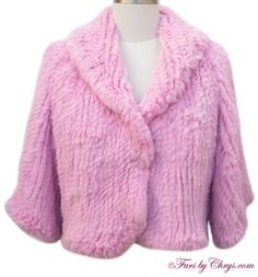 SOLD! Knitted Pink Rex Rabbit Short Jacket #PR377; Like New, Never Worn; Misses 6 - 10. This is a sensational genuine knitted rex rabbit fur short jacket which has been dyed pink. Rex rabbit is a very superior rabbit fur which is velvety soft and does not shed.This darling knitted rex rabbit jacket is super soft and very chic!  It features a shawl collar and half-sleeves. There is no lining required (as the fur is on both sides) and there is NO MONOGRAM.This is one fur you should not pass up...