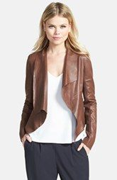 Trouve Draped Lapel Leather Jacket