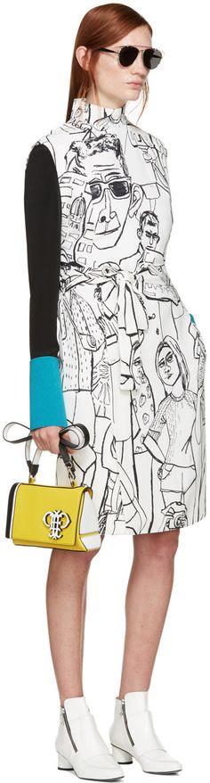 0932219172 Emilio Pucci Ivory   Black Vintage Print Dress Emilio Pucci