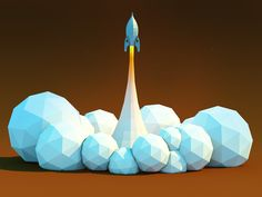 ▶▶▶ Low poly //Rocket Lift off