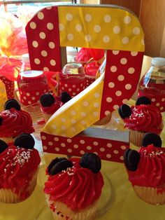 Decorated number at a Minnie Mouse birthday party! See more party planning ideas at CatchMyParty.com!