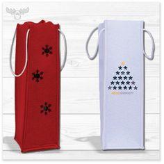 Flaschen-Tasche aus Filz in vielen Größen, Farben und Formen. Weihnachtsgeschenke für Kunden individuell verpacken.