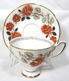 LOVELY ROYAL TARA  IRELAND BONE CHINA CUP & SAUCER RUST FLOWERS #IRELANDBONECHINA