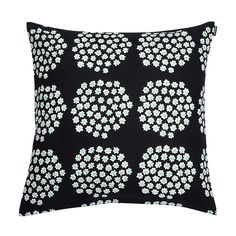 Marimekko Puketti Black / Green Throw Pillow Instantly transform your sofa or chair with this Marimekko throw pillow. Puketti, Finnish for bouquet, was one of Annika Rimala's earliest design contributions to Marimekko and is now available in a ne. Pillow Shams, Pillow Covers, Contemporary Cushions, Hand Knit Blanket, Green Throw Pillows, Marimekko, Fabric Covered, Scandinavian Design, Pillows