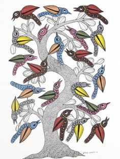 Tree and Birds Gond Painting by Dwarka Prasad Mural Painting, Mural Art, Ceramic Painting, Traditional Paintings, Traditional Art, Madhubani Art, Indian Folk Art, Indian Art Paintings, Madhubani Painting