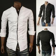 Designer No Collar Slim Fit Dress Shirt