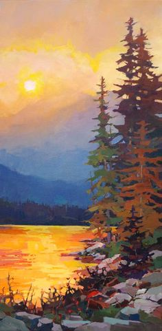 "'Fire in the Sky'36"" x 18"" Acrylic on canvas by artist Randy Hayashi"