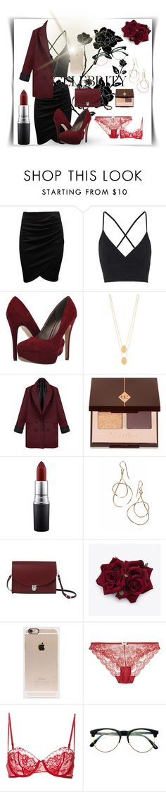 """black&red lady outfit"" by mielind ❤ liked on Polyvore featuring Topshop, Michael Antonio, Jennifer Zeuner, Charlotte Tilbury, MAC Cosmetics, The Cambridge Satchel Company, Incase, Heidi Klum Intimates, La Perla and Retrò"