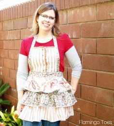 Ruffles and Buttons Apron created by Flamingo Toes, featured on www.dailydoityourself.com