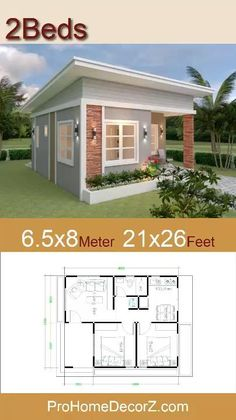Little House Plans, Small Modern House Plans, 3d House Plans, Model House Plan, Family House Plans, Guest House Plans, Little Houses, Single Floor House Design, Simple House Design