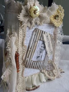 #ebay #Newitem check please MIXED MEDIA FABRIC COLLAGE LACE BOOK OF MEMORIES HANDMADE BY ARTIST