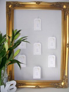 Idea but with photos per converstaion Large Gold Wedding Seating Plan