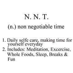 Marie Forleo's awesone concept of NNT, non negotiable time | Marie Forleo's NNT Konzept oder auch nicht verhandelbare Zeit