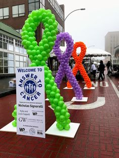 #AnswerToCancer was the big event in downtown White Plains this past weekend and we wowed the crowd throughout the day with 12 – 8' tall cancer ribbons all in different colors. #cancersucks #balloons, #balloondecorating, #lotparty.com