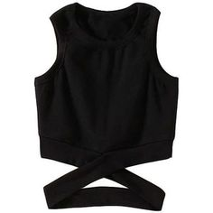 Criss Cross Design Round Neck Black Tank Top