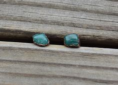 Raw Tumbled Amazonite Copper Stud Earrings; uncut gemstone earrings;blue green Electroformed post style earrings;boho,rustic,earthy, minimal by LoMoStudio on Etsy