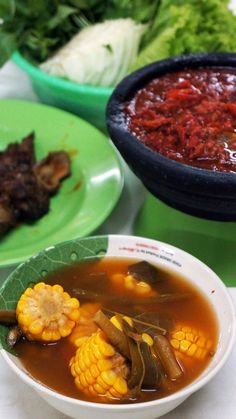 Bowl up: A bowl of sayur asem (Tangy tamarind-flavored vegetable soup) available at the Ampera restaurant.