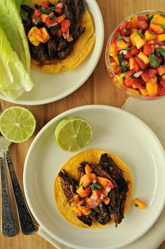Steak Tostadas with Peach Salsa - added chili power, cumin, and red pepper to steak marinade, used green onion and added cilantro to salsa.