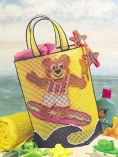 Plastic Canvas - Accessories - Gifts - Surfing Bear Beach Tote - #FP00077