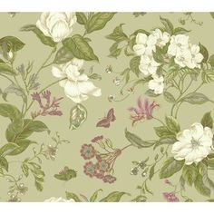 """York Wallcoverings Williamsburg Garden Images 27' x 27"""" Floral and Botanical Wallpaper Color: Pale Metallic Gold"""