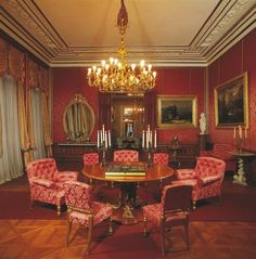 Kaiservilla in Bad Ischl, Upper Austria, the red parlour, summer residence of emperor Franz Joseph I. and empress Elisabeth (Sisi).