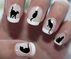 unha decorada preto branco black gato