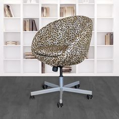 IKEA SKRUVSTA Chair Slip Cover, Leopard Cheetah Brown | affordable, designer, custom, handmade, trendy, fashionable, locally made, high quality Ikea Office Chair, Beautiful Cover, Slipcovers For Chairs, Cheetah Print, Seat Cushions, Brown, Handmade, Design, Bench Seat Cushions