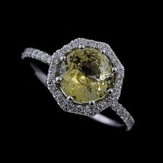 14K Gold Cut Down Micro Pave Diamond Yellow Sapphire by OroSpot, $1999.00