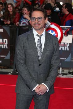 Robert Downey Jr attends the European Premiere of 'Captain America Civil War' at Vue Westfield on April 26 2016 in London England