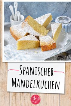 Spanischer Mandelkuchen The original is called Tarta the Santiago. The Spanish almond cake is characterized by its delicious almond note and its juicy consistency. Baking Recipes, Cake Recipes, Mary Recipe, Almond Cakes, Food Cakes, Yummy Cakes, No Bake Cake, Good Food, Food And Drink