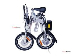 City Express Super Folding Electric Bicycle has  a 24 volt lithium lightweight battery pack and 300 Watt rear hub motor which is the same as full bike. It means you can zip around at 15mph fold it and continue your. .