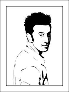 Pencil Art Drawings, Cool Art Drawings, Art Drawings Sketches, Black Paper Drawing, Black Art Painting, Portrait Sketches, Portrait Art, Portraits, Ranbir Kapoor