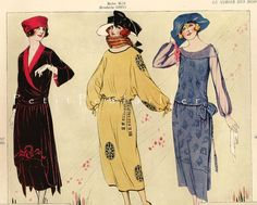 """Days Gone By - 1922 spring fashion from """"Le Miroir Des Modes"""" Love Fashion, Spring Fashion, Vintage Fashion, Evolution Of Fashion, Flapper Style, Roaring Twenties, Fashion History, French Antiques, Art Deco"""