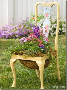 New Use for an Old Chair-Simple DIY project to transform old, unused chairs in to delightful, decorative objects in your garden. See step-by-step guide for this lovely DIY by Just B.