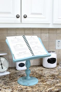 Thrifty makeover - iPad recipe holder at Refresh Restyle refreshed with Folk Art chalk paint