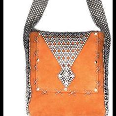 """Burnt orange SG liquid metal suede bag Genuine Kid Suede with metal embellishment. 8""""x7""""x2"""" Liquid Metal Bags Shoulder Bags"""