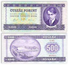 Hungary  500 Forint 31.7.1990 Ady, Budapest, Danube Note Image, Gold Money, Stock Market, Hungary, Budapest, All In One, Ephemera, Nostalgia, 1