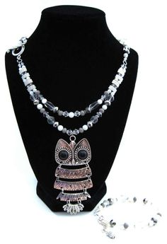 Harry Potter Collection: Snowy Owl Hedwig Double Strand Necklace by HuntJewelz