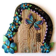 Dragonfly Fairy Door by Claybykim on Etsy,