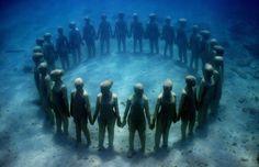Jason deCaires Taylor's Submerged Figurative Sculptures House Thriving Coral Reefs: Juxtapoz-UnderwaterSculpture05.jpg