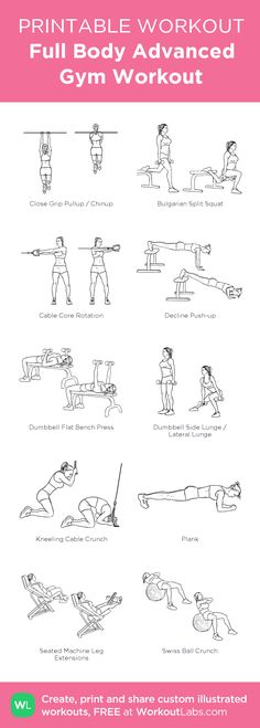 Full Body Advanced Gym Workout – visual workout created at WorkoutLabs.com • Click through to customize and download as a FREE PDF