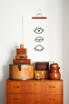 Eye Eye-poster, mid century teak chest, woodenware - design Marta Fromme for Fine Little Day Shop.