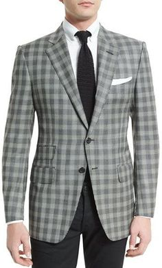 Tom Ford O'Connor Base Prince of Wales Sport Jacket, Black/White